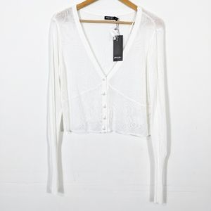 Nasty Gal Boss Bitch Thin Knit Cardigan White NWT